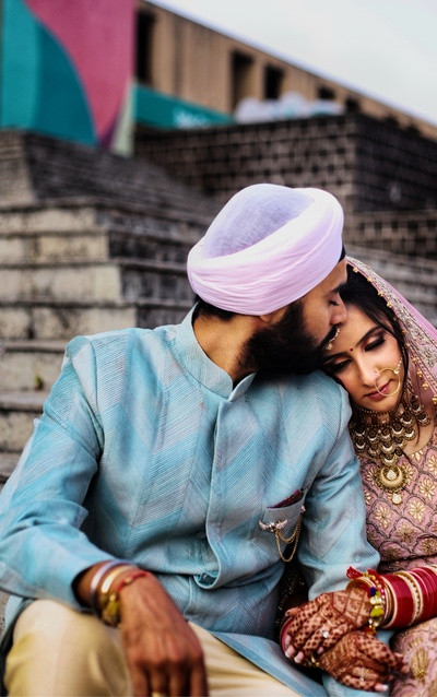 Montek and Navneet share a moment after their Anand Karaj.