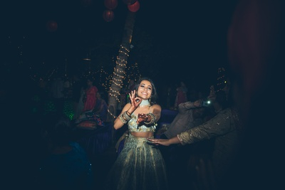 The bride dancing during the sangeet function at Aashyana Lakhanpal, Goa