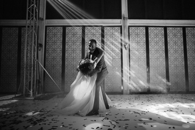 A dancing candid of the couple on their reception