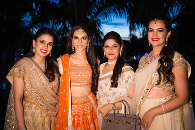 The bride with her squad at the sangeet