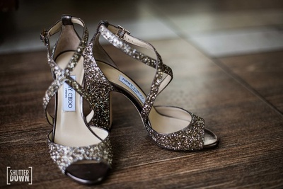 Jimmy Choo shoes worn by the bride in prep for her wedding at Hotel Renaissance, Lucknow