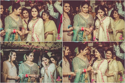 bridal entry under the floral chadar with her bridesmaids
