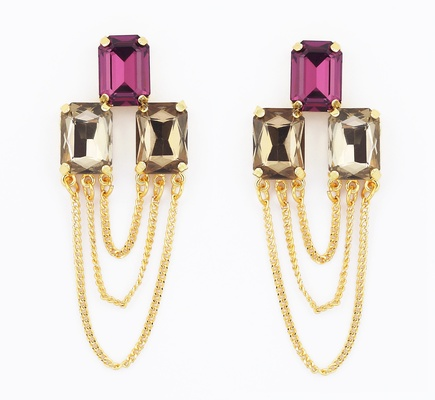 Multi-Tone Crystal Earrings