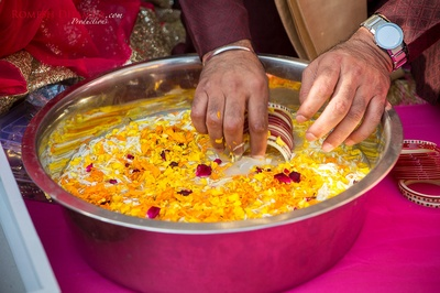 Preparations for the haldi ceremony.
