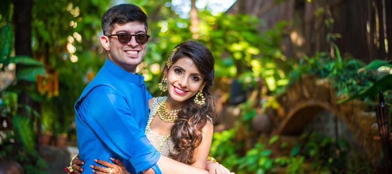 Eham & Nami Mumbai : Hindu wedding held at Novotel, Mumbai with a blue lehenga from Bridal Asia