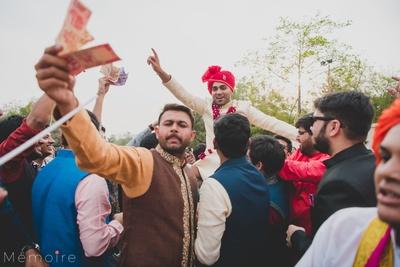 The groom enjoying  his baraat