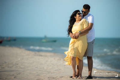 Beach photoshoot of the bride and groom