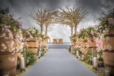 Stunning cherry blossom aisle decor