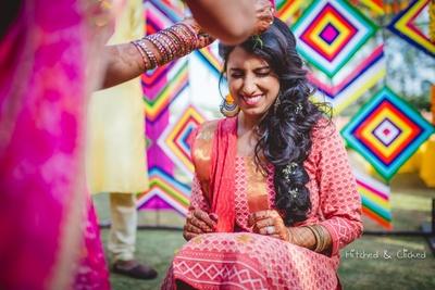 Bride's haldi ceremony at  Taj Jai Mahal Palace, Jaipur