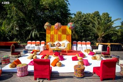 genda phool decor for the mehendi ceremony