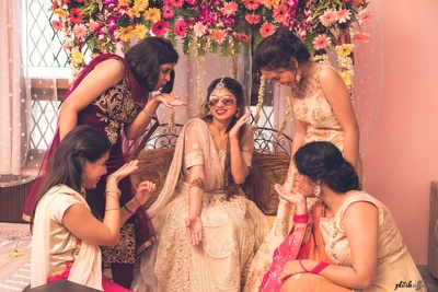 bride with her bridesmaids for a quirky photoshoot