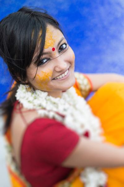 Traditional haldi ceremony for the bride