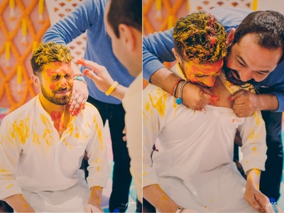 Haldi function for the groom and his family at The Lalit, Khajuraho