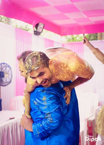 Groom candid click during his haldi function