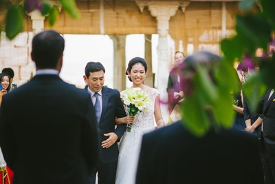 gorgeous bride entering the wedding ceremony