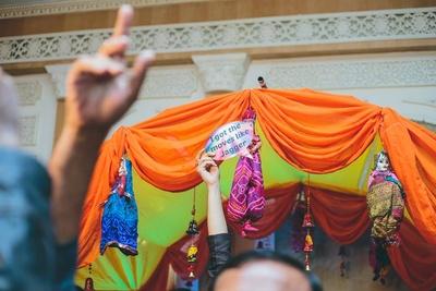 Rajasthani dolls decor for the sangeet ceremony.