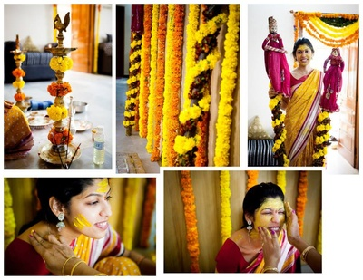 Venue decorated with yellow and orange Marigold strings