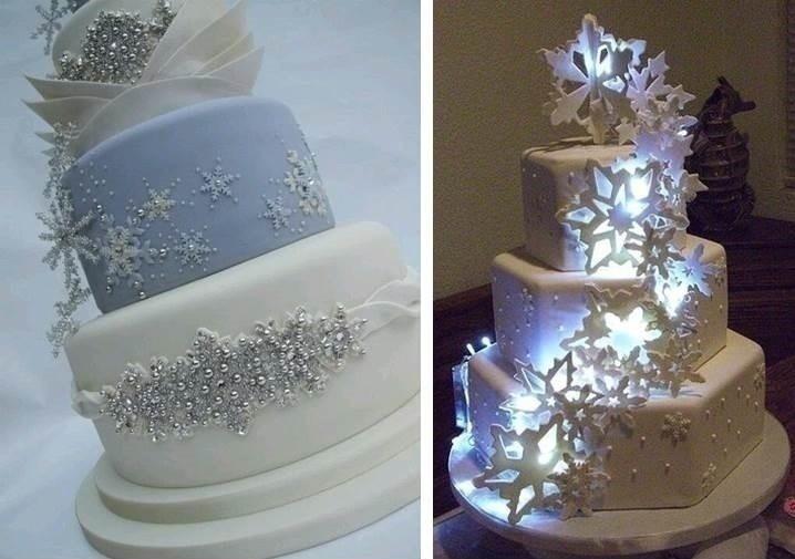 SNOWFLAKE WEDDING CAKES
