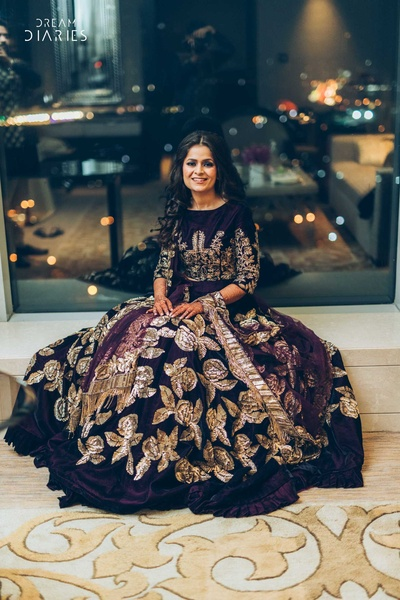 Beautiful bride in a splendid evening gown
