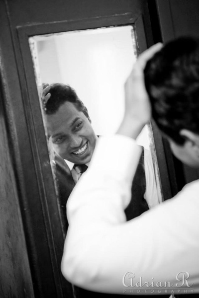Groom getting ready for the big day