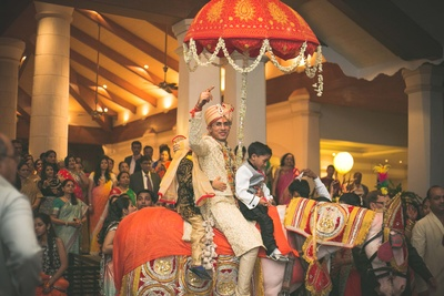 Decked and set for his nuptials at Goa Marriott in an off-white embellished sherwani