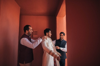 Groom getting ready for the wedding ceremony