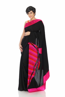 Black Saree With Patch Work