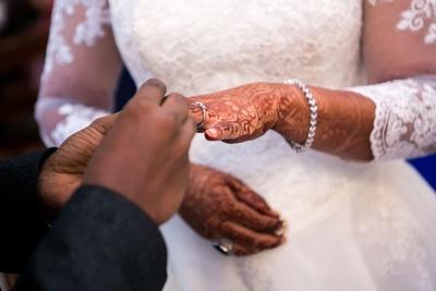Bride Ujwala and Groom Francis getting engaged.