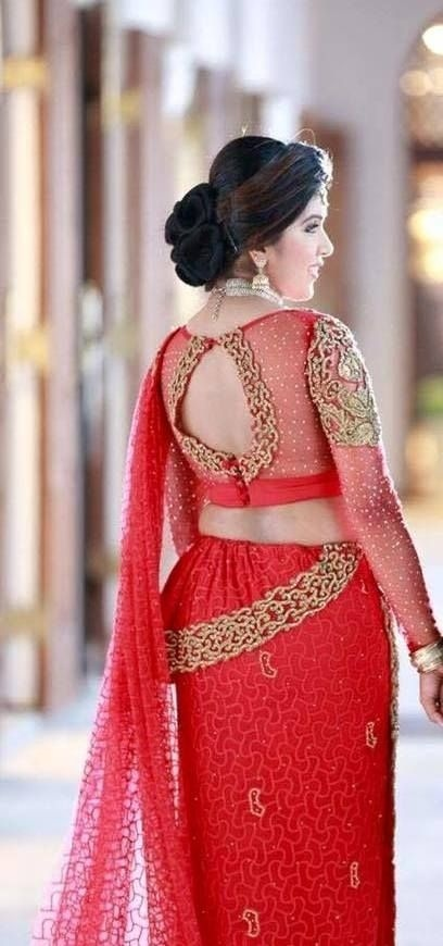 f6e6381334c336 Ideal to wear with net sarees, this bridal blouse design 2018 has full  sheer sleeves and a cut out back with diamond embroidery at the shoulders  and on the ...