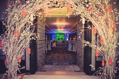 Engagement ceremony venue entrance decor.