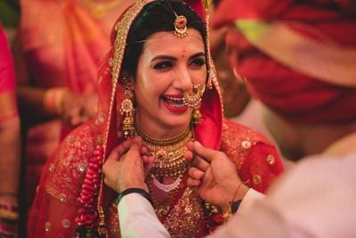 Smiling brides are the prettiest.