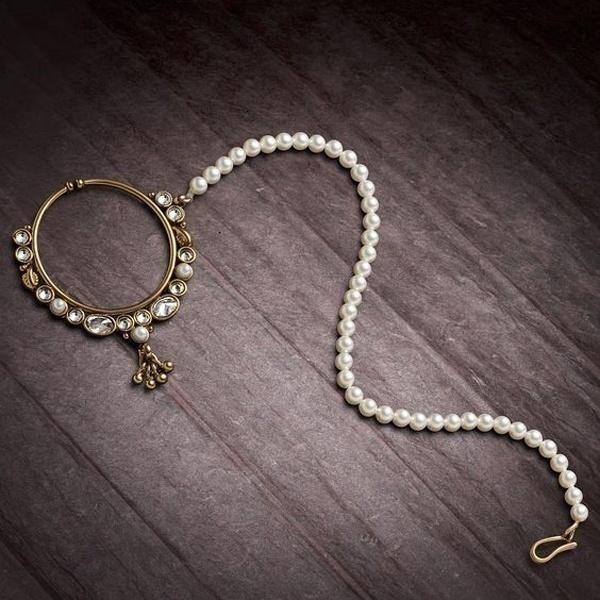 A Royal Queen's Choice - Kundan and Polki Bridal Nose Ring