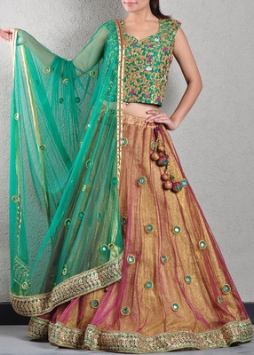 Gold and Green Patra Work Lehenga