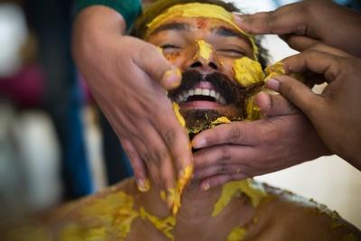 Happy groom during the haldi ceremony