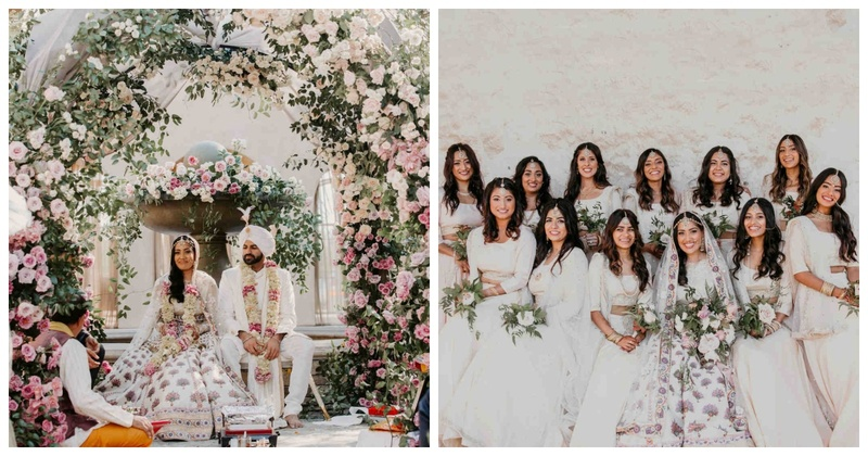 In LOVE with this monochrome Indian wedding which has everything from coordinated bridesmaids to gorgeous decor!
