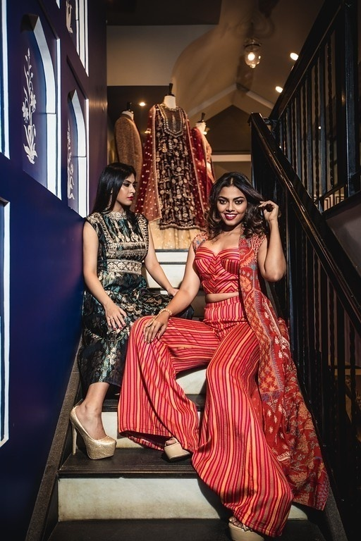 5fb8ba6049c ... and yellow striped co-ord comprising of a bustier and flared pants  paired with a voluminous jacket from Anita Dongre giving the whole indo- western vibe.