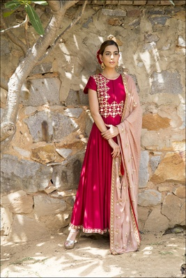 Rose Red mirrorwork anarkali
