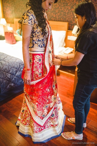 Red and blue wedding lehenga
