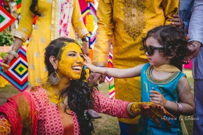 Candid capture of the bride's haldi ceremony at  Taj Jai Mahal Palace, Jaipur