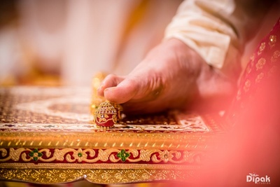Groom following the Haldi rituals