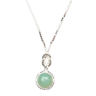 LeCalla Aqua Green Stone Silver Party Necklace