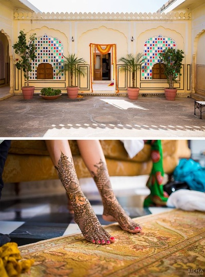Bridal feet covered in intricately patterned mehendi design