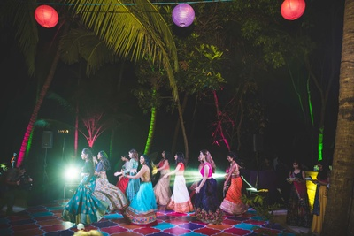 Sangeet dance performance by the bride and her bridesmaids