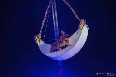 Aerial entry for the bride from designer harness