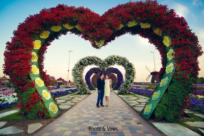The blooms in Magical Garden, Dubai that appear to be in different shapes like a heart in this one