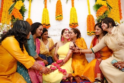 A cute and emotional moment for the bride while her haldi ceremony.