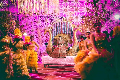 grand bridal entry to the wedding ceremony