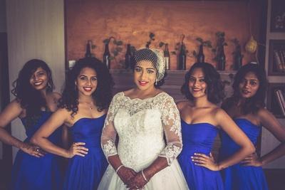 Brides maids in royal blue off shoulder dresses!