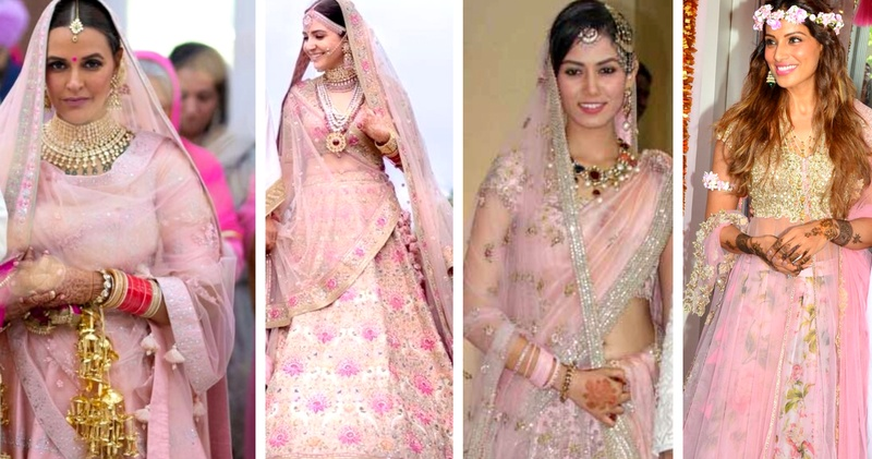 Pastel pink lehenga has been most of the bollywood celeb brides choice for their wedding!