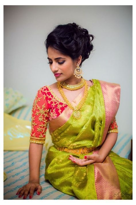 a8a3af0032b8f 20 silk saree blouse designs to wear with your favourite Kanjivaram ...